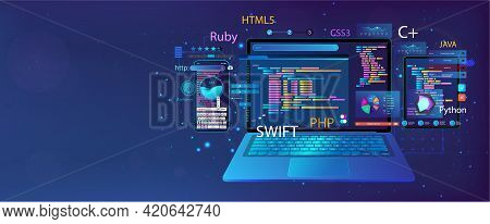 Web Banner Development Software And Ui Interface In Different Devices. App Dashboard With Code And U