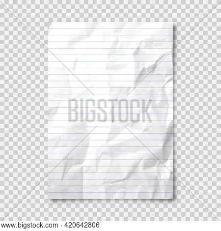 Realistic Blank Crumpled Paper Sheet In A4 Format On Transparent Background. Notebook Page, Document