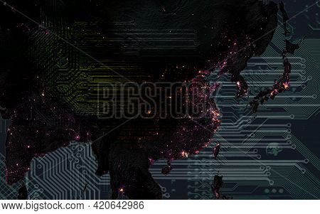 Dark Asia In Citylights From Space And Motherboard Pattern With Copy Space For Your Text. Informatio