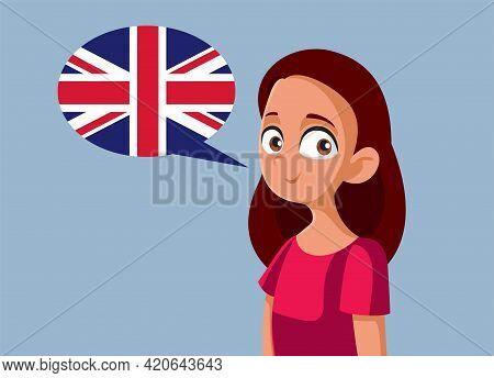 Teen Girl Speaking English Vector Cartoon Illustration