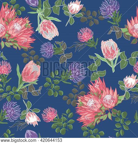 Blue And Pink Proteas And Grevillea Australian Natives Seamless Vector Repeat Pattern. Vector Illust
