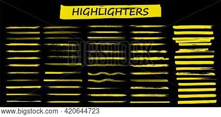 Detailed Highlighters. Paintbrush Lines. Marker Color Stroke. Yellow Watercolor Lines Hand Drawn And