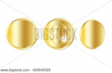 Gold Dollar Coins. Big Win. Success Symbol. Gold Blank Coins. Business Concept. Stock Image. Vector