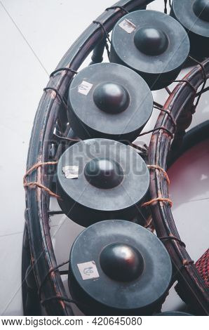 Thai Musical Instrument, Gong Instrument For Rhythm. Close Up