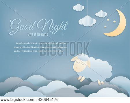 Good Night Isolated Elements For Your Design Sweet Dreams Sheep Paper Cut And Papercraft Style. Vect