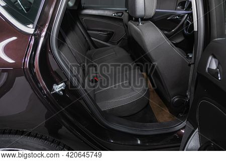 Novosibirsk, Russia - May 16, 2021: Opel Astra,   Comfort Car Inside. Clean Car Interior: Black Back