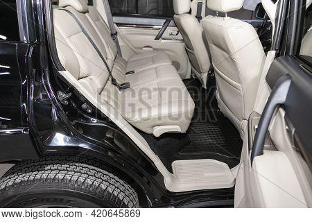 Novosibirsk, Russia - May 16, 2021:mitsubishi Pajero,   Comfort Car Inside. Clean Car Interior: Beig