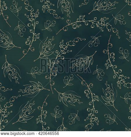 Seamless Pattern. Golden Elements Of Branches And Leaves