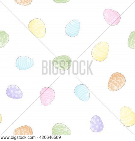 Seamless Pattern. Easter Holiday. Easter Colorful Eggs