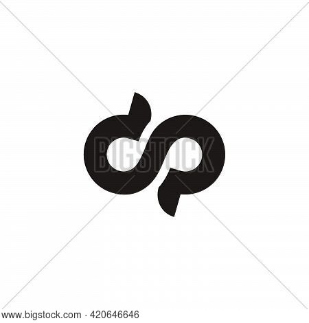 Simple Letter Cp Infinity Symbol Curves Loop Design Logo Vector