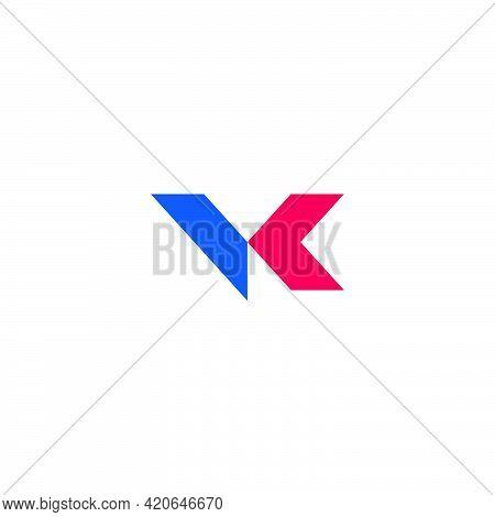 Letter Vk Motion Arrow Geometric Colorful Logo Vector