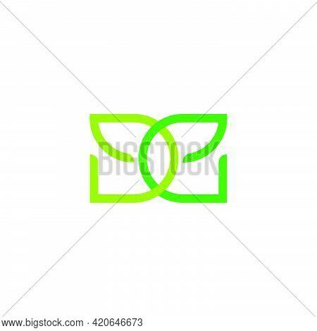 Letter De Leaf Natural Colorful Geometric Logo Vector