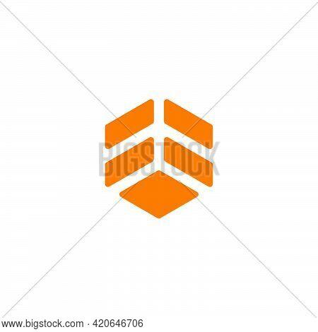 Hexagonal Yellow Airplane Abstract Geometric Logo Vector
