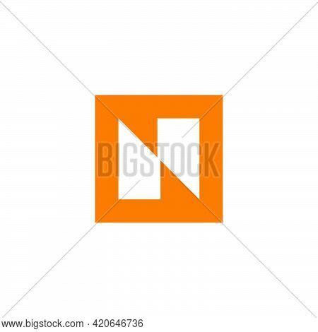 Letter N Square Geometric Negative Space Logo Vector