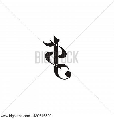 Letter 2t Simple Linked Curves 3d Flat Logo Vector