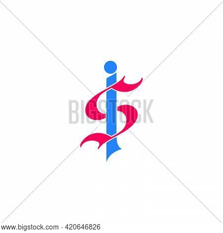 Letter Si Simple Linked Curves Colorful Logo Vector