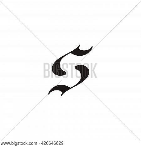 Letter S Shark Fish Circle Motion Shape Simple Logo Vector