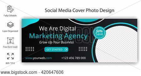Business Digital Marketing Agency Social Media  Cover Banner Template Design. Timeline Cover Page De