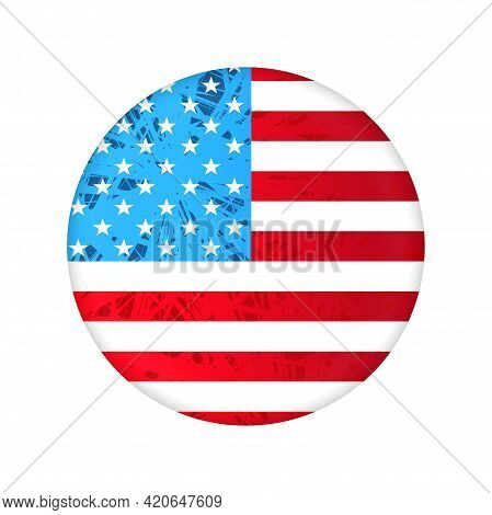 Round Embossed Badge With The Silhouette Of The Flag Of America.