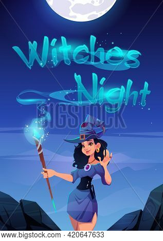Witches Night Cartoon Poster, Invitation To Halloween Party Or Holiday Celebration, Sexy Enchantress