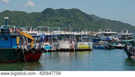 Sai Kung, Hong Kong 14 August 2020: yacht cruise on the sea