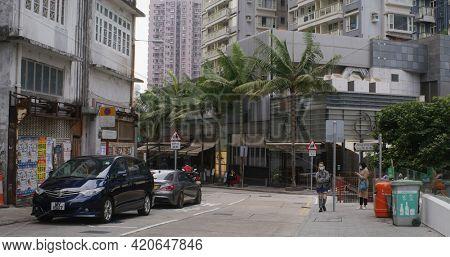 Central, Hong Kong 08 February 2021: City life in Hong Kong