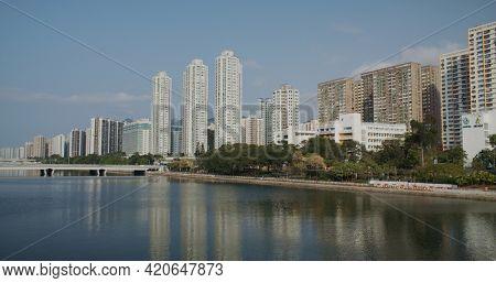 Sha Tin, Hong Kong 14 March 2021: Residential district in Sha Tin of Hong Kong