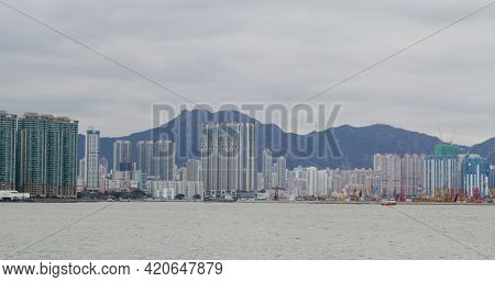 Hong Kong 12 February 2021: Hong Kong lion rock mountain