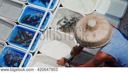 Sai Kung, Hong Kong 15 August 2020: Sell seafood on fisherman boat
