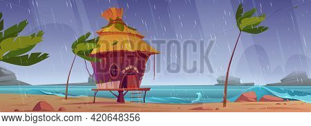 Storm On Beach With Hut Or Bungalow Under Rain, Summer Shack On Tropical Island Seaside With Ragging