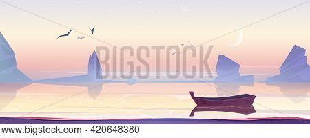 Wooden Boat On Sea, Lake Or Pond Scenery Landscape, Picturesque Nature Background With Lonely Skiff