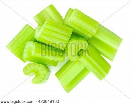 Fresh Celery Isolated On White Background. Cutted Celery Sticks. Top View