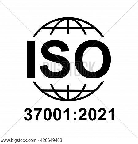 Iso 37001:2021 Icon. Anti-bribery Management Systems. Standard Quality Symbol. Vector Button Sign Is