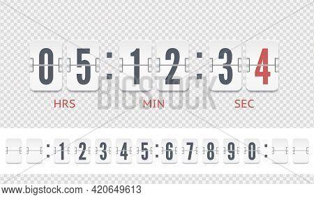 White Scoreboard Countdown Number Font. Retro Design Score Board Clock. Vintage Flip Clock Time Coun