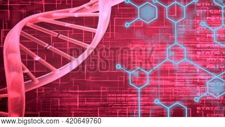 Composition of dna strand and medical data processing over red background. global medicine and research concept digitally generated image.