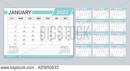 Calendar 2022 Year. Planner, Calender Template. Week Starts Sunday. Vector. Yearly Stationery Organi