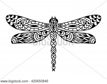 Dragonfly Silhouette. Black And White Dragonfly Mandala. Zentangle Vector Illustration.