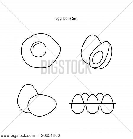 Egg Icons Set Isolated On White Background From Food Collection. Egg Icon Thin Line Outline Linear E