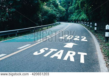 Start Line To 2022 On Road In Wood The Beginning Of A Journey To The Destination In Business Plannin