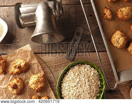 Oatmeal Cookies On Baking Paper With Organic Baking Ingredients, Healthy Food Concept, View From Abo