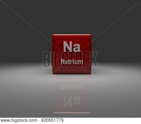 Red Cube With German Sodium Periodic System, 3d Rendering