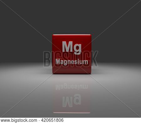 Red Cube With Magnesium Periodic System, 3d Rendering