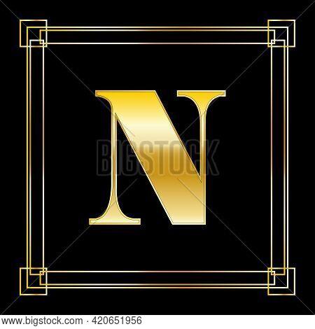 Letter N Logo Design With Square Ornament, Luxury Golden Design, Vector Illustration