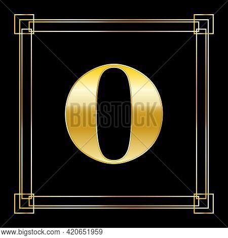 Letter O Logo Design With Square Ornament, Luxury Golden Design, Vector Illustration