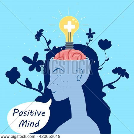 Positive Mind Girl With An Open Brain Opens Idea, Bulb, A Solution To A Problem, Mind Wellness, Rela