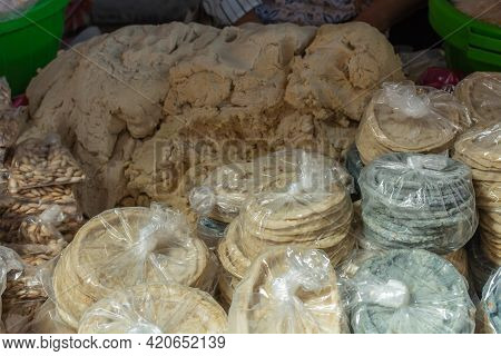 Stall Selling Tortillas And Corn Products. Sale Of Tortillas In The Mexican Market.
