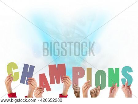 Composition of champions text in multi coloured letters held by people with blue light trails. motivation and encouragement concept digitally generated image.