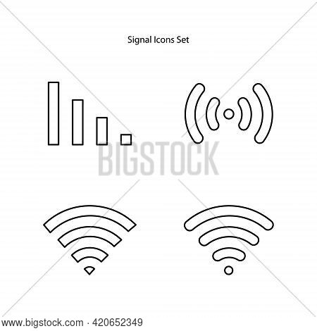 Signal Icons Set Isolated On White Background. Signal Icon Thin Line Outline Linear Signal Symbol Fo