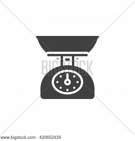 Kitchen Scales Vector Icon. Filled Flat Sign For Mobile Concept And Web Design. Weighing Scales Glyp