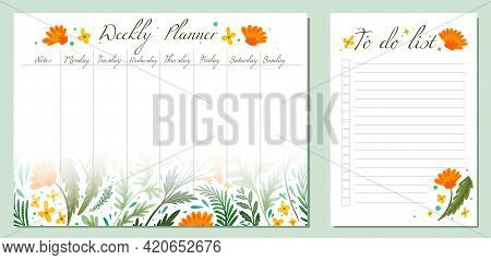 Set Of Day Organization Templates With Grass And Flower Of Fields. Weekly Planner And To Do List. Ve